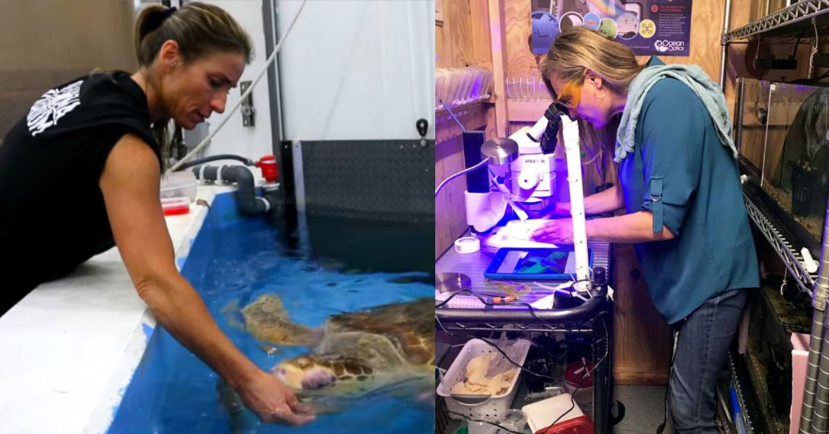 Amy Alexopoulos and Ann Money, biologists at the Oklahoma Aquarium