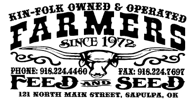 "Image of a long-horned cow with the text ""Farmers Feed & Seed. Sapulpa, OK"""